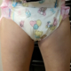 Close-up of Alisha peeing in her diaper.